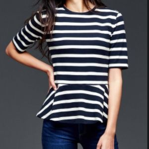 Gap Striped Peplum Cotton Top